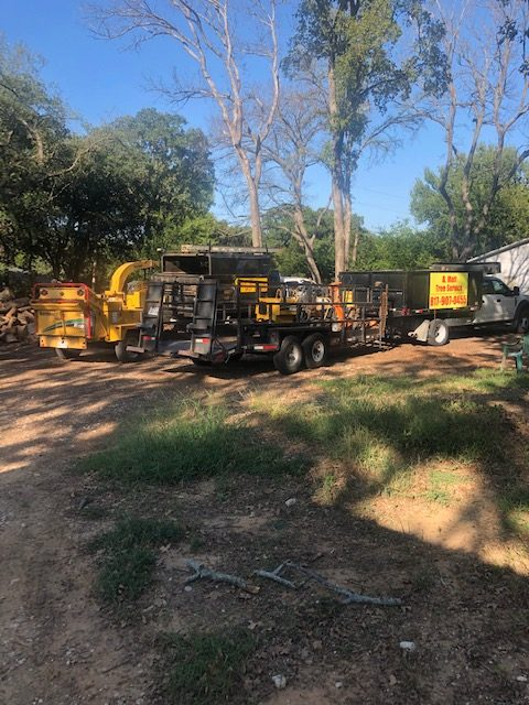 Photo of all of our tree services equipment, including skid steer, trucks, trailers and more.